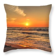 Sunset On The Baltic Sea Beach Of Leba In Poland Throw Pillow