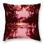 Sunset On The Bayou Atchafalaya Basin Louisiana Throw Pillow