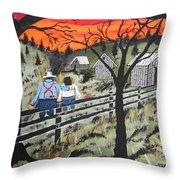 Sunset On The Fence Throw Pillow