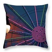 sunset on the Ferris wheel Throw Pillow