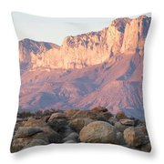 Sunset On The Guadalupe Mountains Throw Pillow