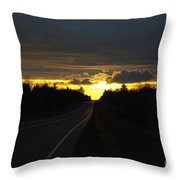 Sunset On The Highway Throw Pillow