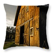 Sunset On The Horse Barn Throw Pillow by Edward Fielding