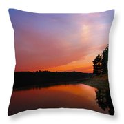 Sunset On The Kennebec River Throw Pillow