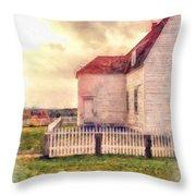 Sunset On The Old Farm House Throw Pillow
