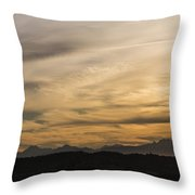 Sunset On The Olympics Throw Pillow