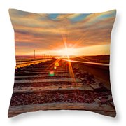 Sunset On The Rails Throw Pillow