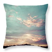 Sunset On The River In The Peruvian Amazon Jungle Throw Pillow