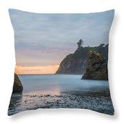 Sunset On The Rocks Throw Pillow