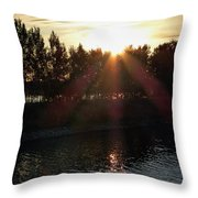 Sunset On The Volga River Throw Pillow