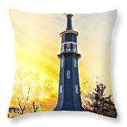 Sunset On The Windmill Throw Pillow