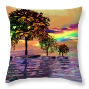 Sunset On Trees And Ocean Throw Pillow