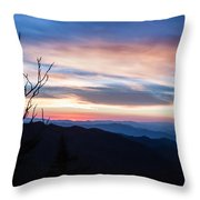 Sunset On Water Rock Knob Blue Ridge Parkway Scenic Photo Throw Pillow