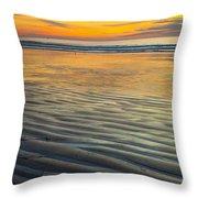 Sunset On Wet Sandy Beach Seascape Fine Art Photography Print  Throw Pillow