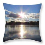 Sunset Ove A Frozen Pond Throw Pillow