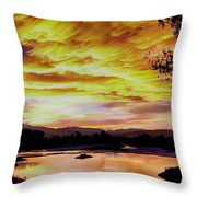 Sunset Over A Country Pond Throw Pillow