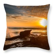 Sunset Over A Rough Sea I Throw Pillow