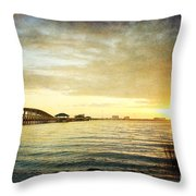 Sunset Over Biloxi Bay Throw Pillow