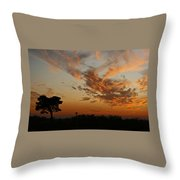 Sunset Over Blueberry Field Throw Pillow