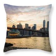 Sunset Over Brooklyn Bridge Throw Pillow
