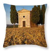Sunset Over Cappella Di Vitaleta Throw Pillow