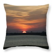 Sunset Over Charleston Harbor Throw Pillow