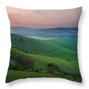 Sunset Over English Countryside Escarpment Landscape Throw Pillow