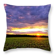 Sunset Over Farmland Throw Pillow by Olivier Le Queinec
