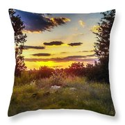 Sunset Over Field Of  Flowers Throw Pillow