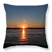 Sunset Over Frozen Wachusett Reservoir 2 Throw Pillow