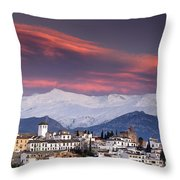 Sunset Over Granada And The Alhambra Castle Throw Pillow