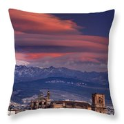 Sunset Over Granada And The Cathedral Throw Pillow