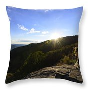 Sunset Over Halloween Decorations On Black Rock Mountain Throw Pillow