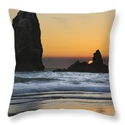 Sunset Over Haystack Needles Rocks Throw Pillow