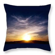 Sunset Over Hills With Clouds Throw Pillow