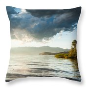 Sunset Over Lake Maggiore In Italy Throw Pillow