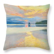 Sunset Over Lake Ruovesi Throw Pillow