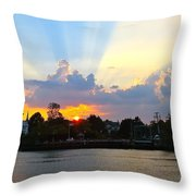 Sunset Over Mauricetown  Throw Pillow