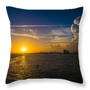 Sunset Over Miami From Out At Sea Throw Pillow