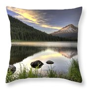 Sunset Over Mount Hood At Trillium Lake Throw Pillow
