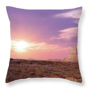 Sunset Over Mountain Valley Throw Pillow by Aged Pixel