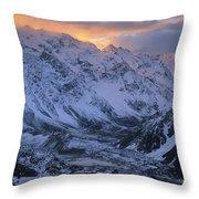 Sunset Over Mueller Glacier Lake Throw Pillow