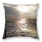 Sunset Over Nj After Fishing Throw Pillow