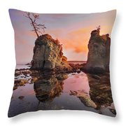 Sunset Over Pig And Sow Inlet At Oregon Coast Throw Pillow