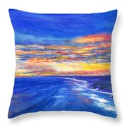 Sunset Over Point Lonsdale As Viewed From Cape Schanck  Throw Pillow