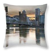 Sunset Over Portland City Skyline Panorama Throw Pillow