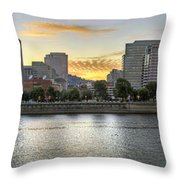 Sunset Over Portland Downtown Skyline Throw Pillow