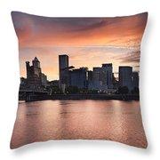 Sunset Over Portland Oregon Waterfront Panorama Throw Pillow