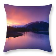 Sunset Over Resurrection River And Exit Throw Pillow