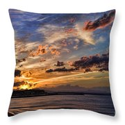 Sunset Over Rethymno Crete Throw Pillow